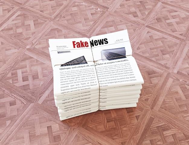 Angle élevé de pile de journaux avec de fausses nouvelles
