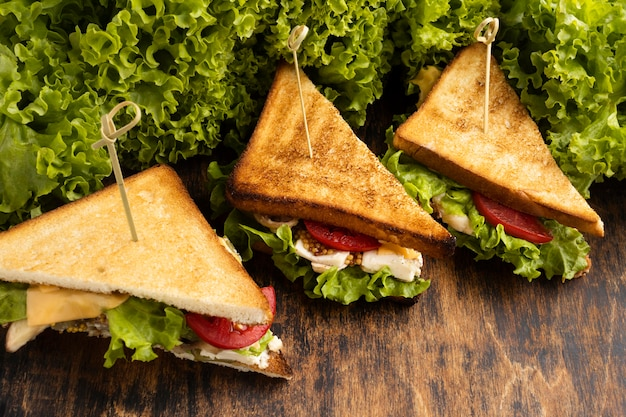Angle élevé de sandwichs triangulaires avec salade et tomates