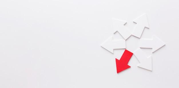 Angle élevé de variété de flèches avec espace de copie