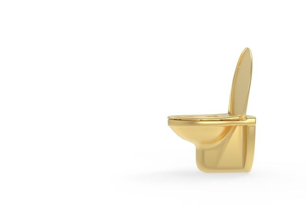 Angle latéral de toilette d'or sur le fond blanc