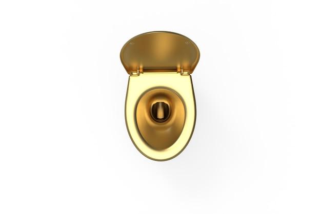 Angle supérieur de toilette d'or sur le fond blanc