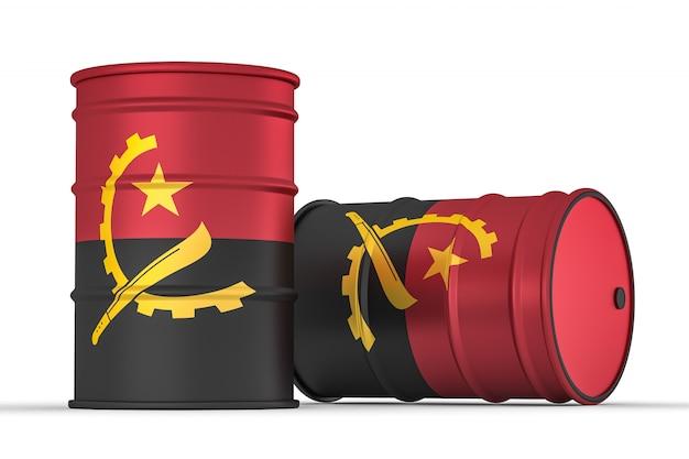 Angola style baril de drapeau isolé sur blanc