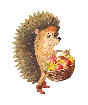 Animal de forêt d'automne de dessin animé de hérisson d'aquarelle avec le panier