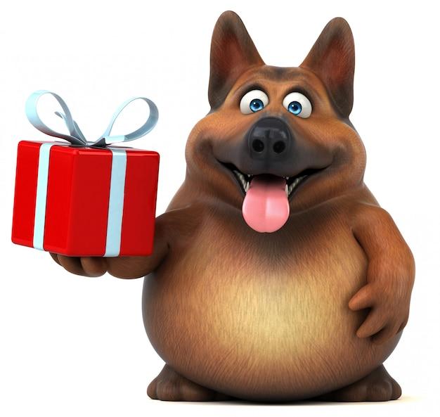 Animation amusante de chien de berger allemand