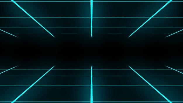 Animation bouclable rétro grille néon abstraite en couleur cyan. style des années 80 4k
