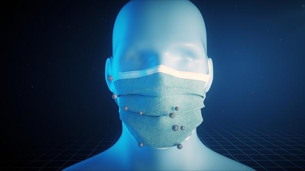 Animation de concept médical montrant l'importance de porter des masques médicaux
