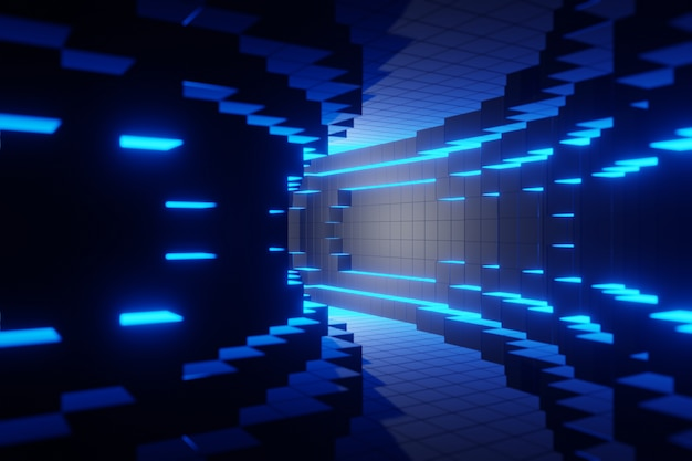 Animation de fond bleu tunnel technologique numérique futuriste rendu 3d