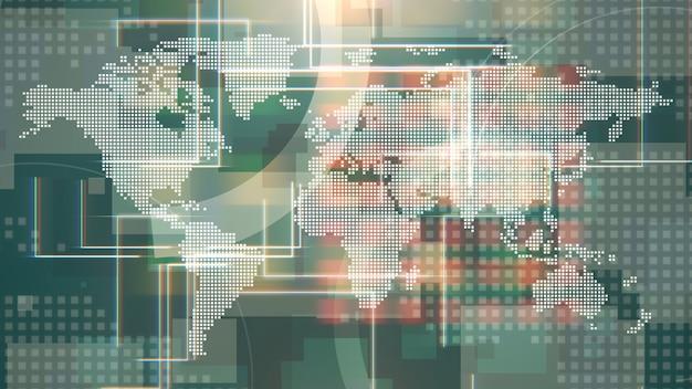Animation graphique d'introduction de nouvelles avec des lignes et une carte du monde, fond abstrait. style d'illustration 3d élégant et luxueux pour les actualités et le modèle d'entreprise
