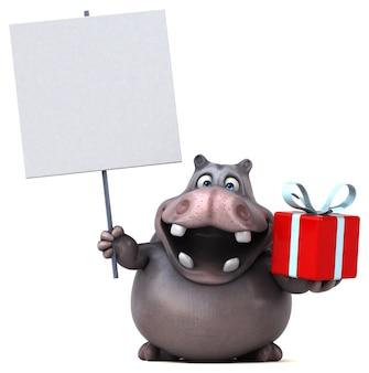 Animation hippopotame amusante
