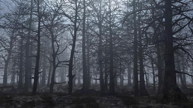 Animation de rendu 3d de voler à travers une forêt effrayante