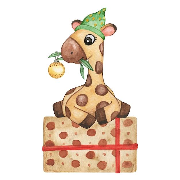 Animaux de noël aquarelle, petite girafe, illustration cadeau, animaux mignons isolés, décor de bébé