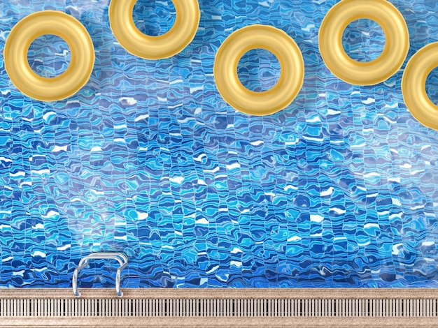 Anneau de bain de rendu 3d sur la vue de dessus de piscine