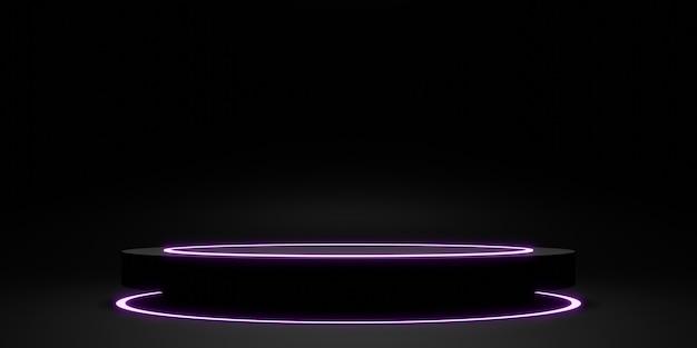 Anneau laser de présentoir noir et illustration 3d de lueur de néon