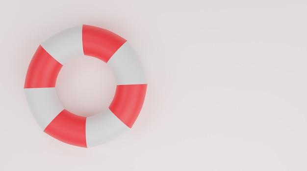 Anneau de natation, bouée de sauvetage rouge et blanc sur fond blanc