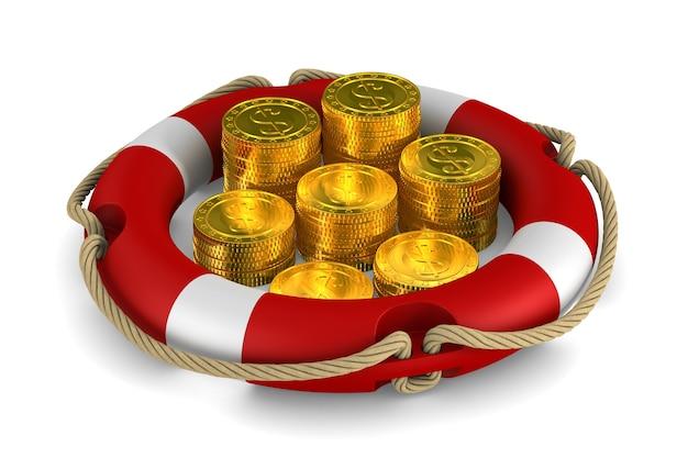 Anneau de sauvetage et pièces de monnaie sur blanc.