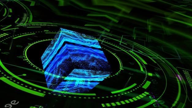 Anneau vert d'ordinateur de technologie futuriste quantique avec réflexion de cube numérique abstraite oscillation de lumière de point de forme d'onde sombre
