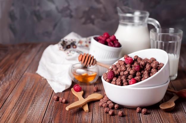 Anneaux de céréales au chocolat dans un bol