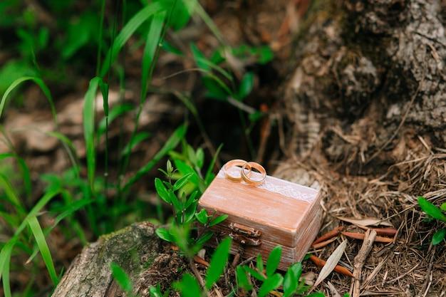 Anneaux de mariage dans une boîte en bois pour anneaux faits à la main