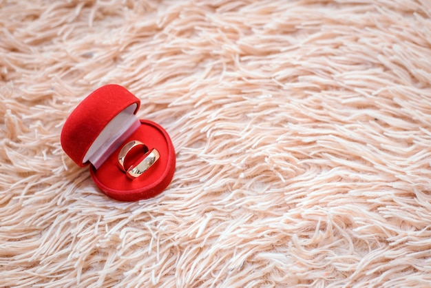 Anneaux de mariage dans une boîte rouge sur un plaid beige avec copie espace