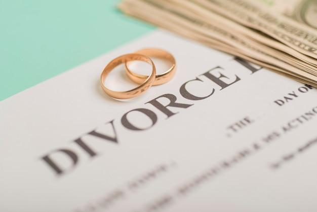 Anneaux de mariage sur le jugement de divorce