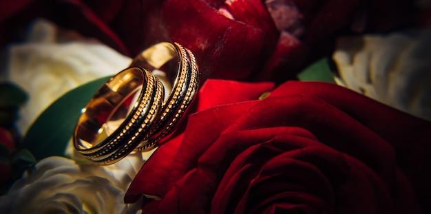 Anneaux de mariage en or sur fond de fleurs rouges, mise au point sélective, gros plan. bagues vintage, reflets de lumière, boutons de rose, macrophotographie.