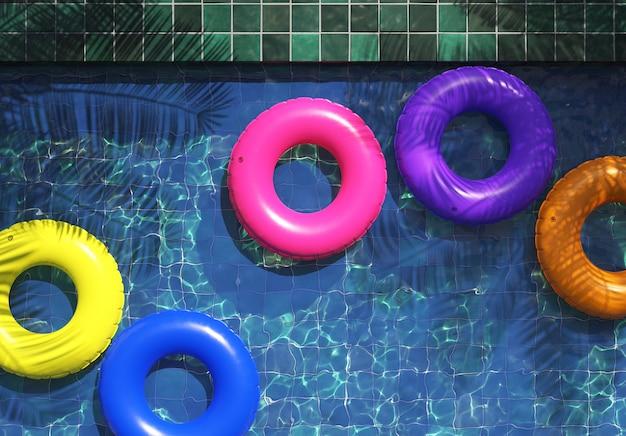 Anneaux de natation multicolores dans la piscine, illustration 3d