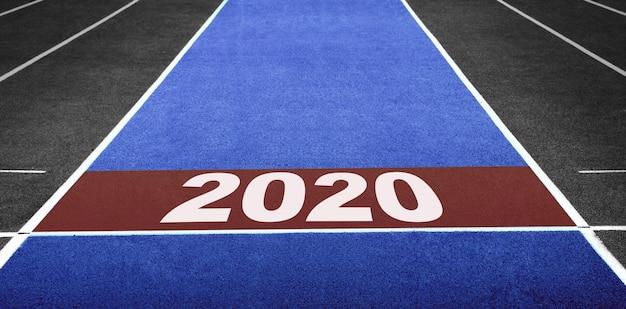 Année 2020. ligne de départ pour prêt à aller de l'avant. défi du nouvel an