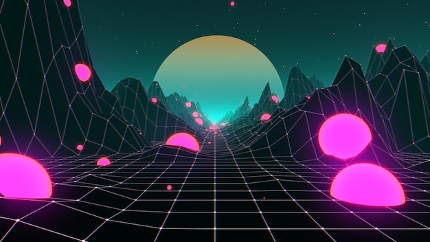 Années 80 paysage de fond futuriste rétro synthwave