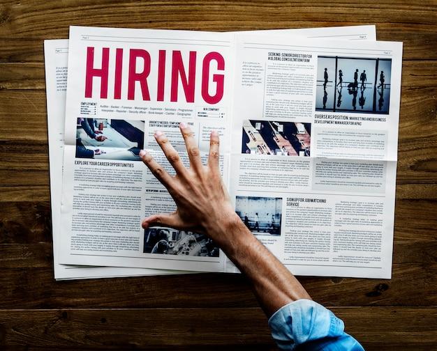 Annonce d'embauche de carrière dans un journal