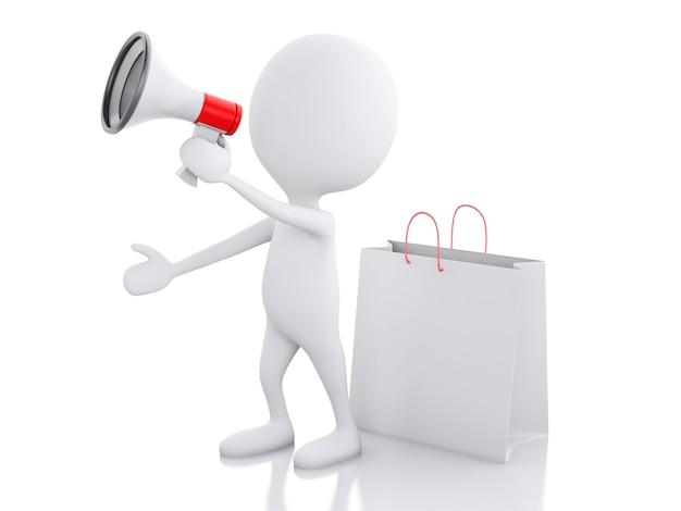 Annonce de vente 3d homme avec mégaphone et sac à provisions.