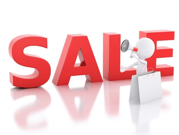 Annonce de vente de personnes blanches 3d avec mégaphone.