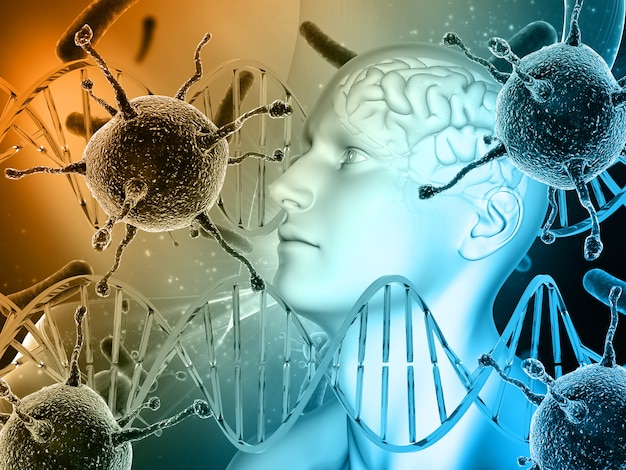 Antécédents médicaux 3d avec tête masculine, cerveau avec cellules virales et brins d'adn