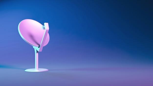 Antenne parabolique se bouchent dans un éclairage néon bleu et violet, illustration 3d