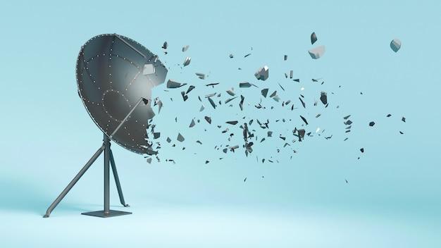 Antenne satellite sur bleu, cassé en petites pièces, illustration 3d