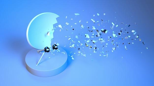 Antenne satellite brisée en petites pièces dans l'éclairage au néon, illustration 3d