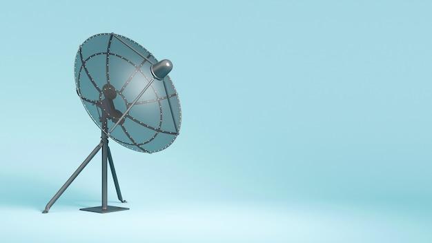 Antenne satellite sur gros plan bleu, illustration 3d