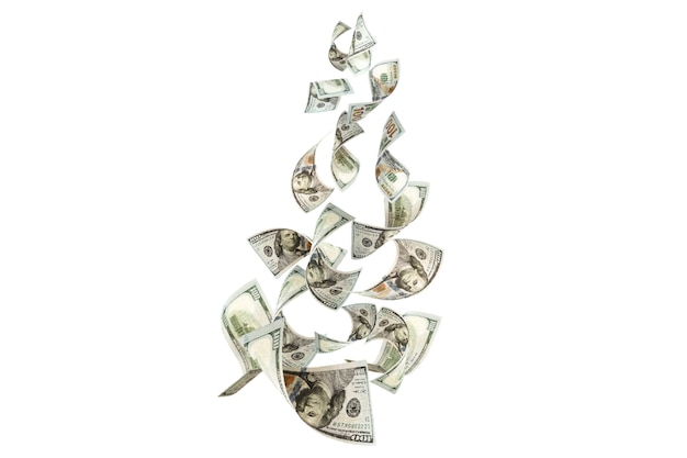 Antigravité volante des billets en dollars américains. concept d'investissement et d'épargne.