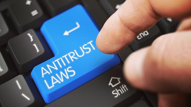 Antitrust lows concept - clavier blanc avec clavier bleu. illustration 3d.