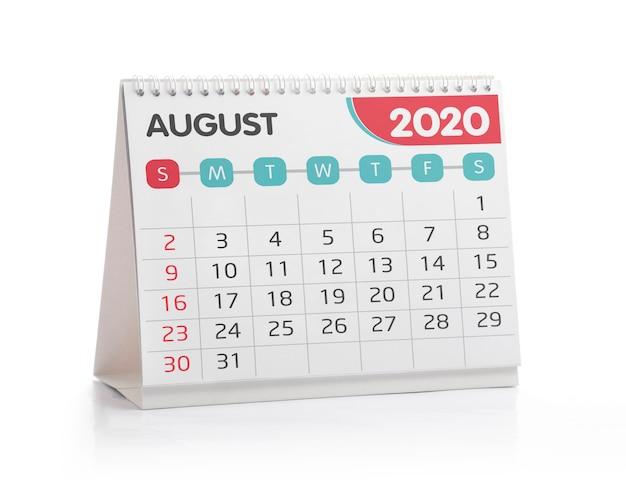 Août 2020 calendrier de bureau