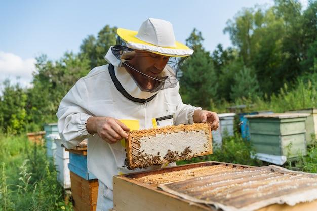 L'apiculteur travaille avec des abeilles dans le rucher