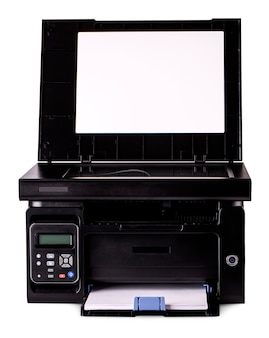 L'appareil de bureau de style moderne isolé avec un tracé de détourage sur blanc