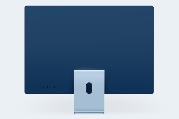 Appareil numérique de bureau d'ordinateur minimal bleu avec espace de conception
