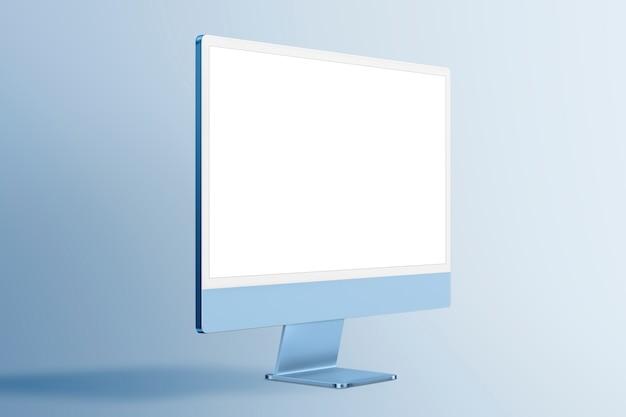 Appareil numérique à écran de bureau d'ordinateur minimal bleu avec espace de conception