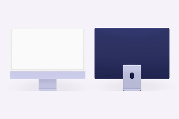 Appareil numérique à écran de bureau d'ordinateur minimal violet avec espace de conception
