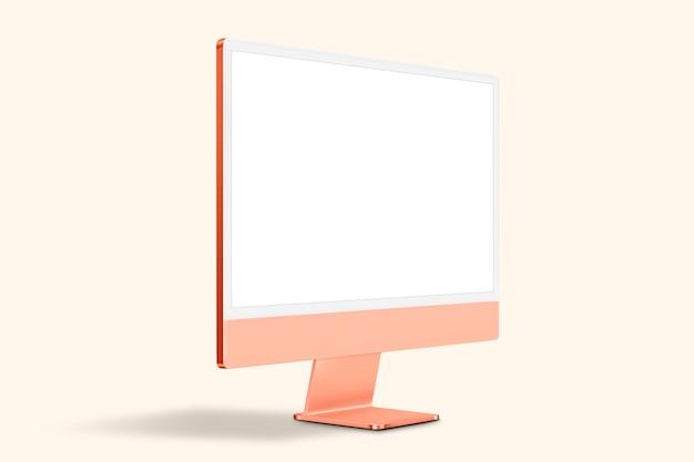 Appareil numérique à écran de bureau d'ordinateur pastel orange avec espace de conception