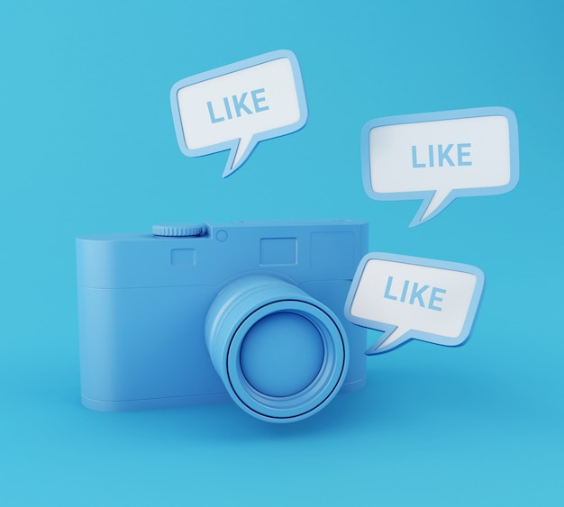Appareil photo 3d avec broche semblable. réseau social.