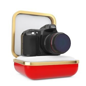 Appareil photo numérique moderne dans la boîte cadeau rouge sur fond blanc. rendu 3d