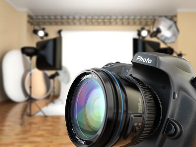 Appareil photo reflex numérique en studio photo avec équipement d'éclairage, softbox et flashs. 3d