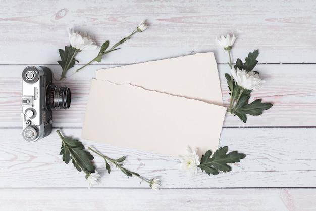 Appareil photo rétro près de papiers entre ensemble de feuilles et de fleurs fraîches