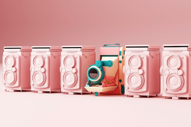 Appareil photo vintage coloré entourant par appareil photo vintage rose sur fond rose rendu 3d